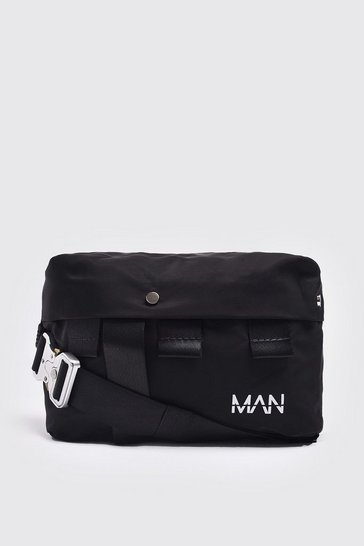 Black Metal Utility Buckle Bumbag
