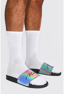 MAN Script Rainbow Reflective Sliders, Black