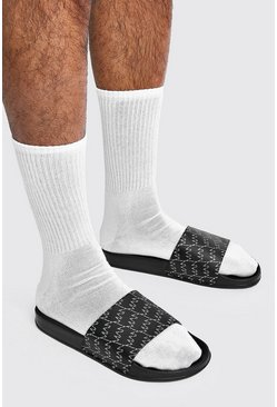 Black MAN All Over Print Sliders