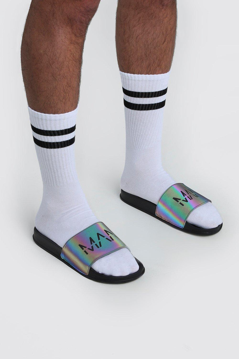 mens man print rainbow reflective slides - black