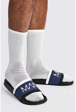 MAN Colour Block Sliders, Black