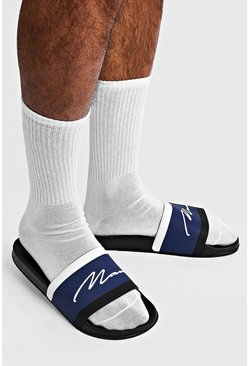 MAN Script Colour Block Sliders, Black