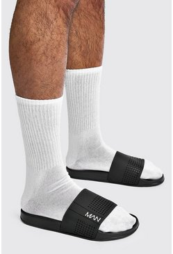 MAN Sport Perforated Sliders, Black