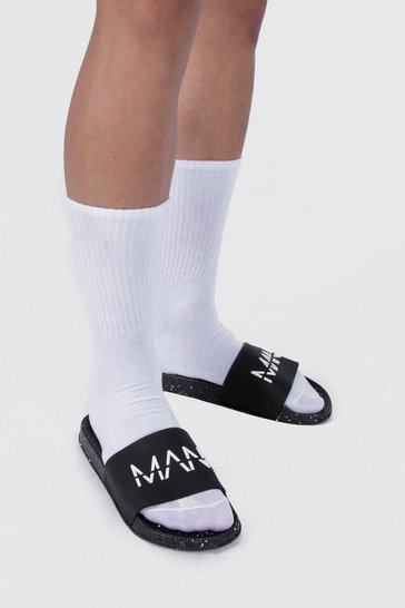 Black MAN Spray Sole Sliders