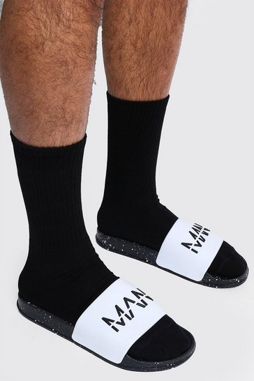 White MAN Spray Sole Sliders