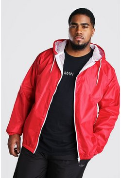 Red Big And Tall Hooded Zip Through Jacket