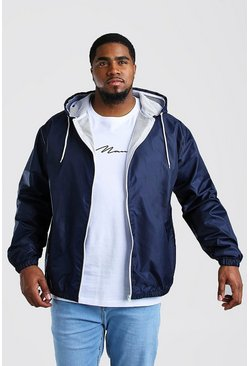 Navy Big And Tall Hooded Zip Through Jacket