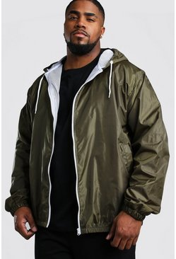 Khaki Big And Tall Hooded Zip Through Jacket