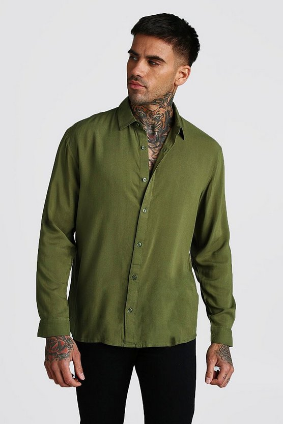 Khaki Long Sleeve Regular Collar Viscose Shirt