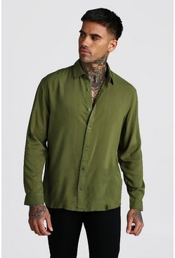 Long Sleeve Regular Collar Viscose Shirt, Khaki