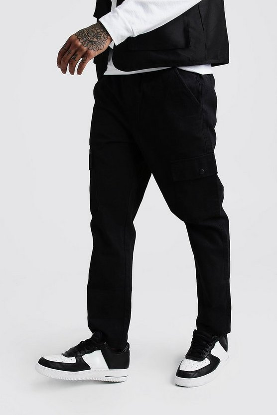 Black Twill Cargo Trousers