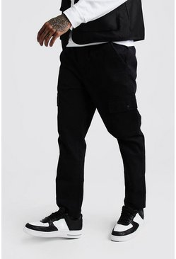 Herr Black Twill Cargo Trousers