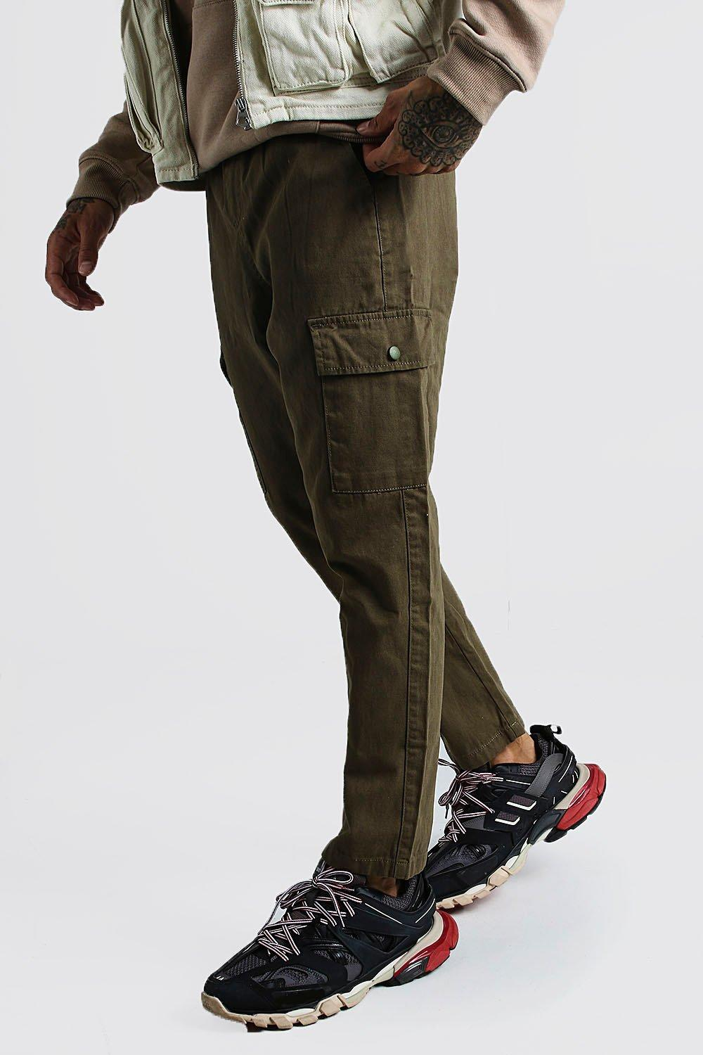Men's Steampunk Pants & Trousers Mens Twill Cargo Pants - Green $40.00 AT vintagedancer.com