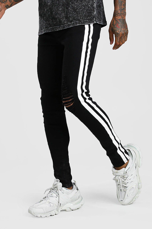 mens super skinny distressed jean with painted stripe - black