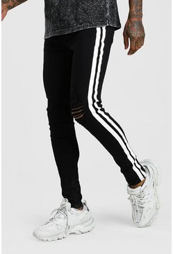 Super Skinny Distressed Jean With Painted Stripe, Black