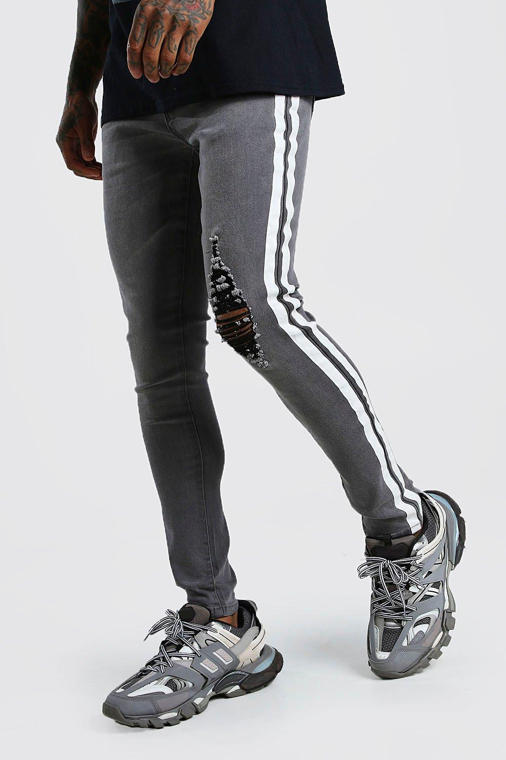 mens super skinny distressed jean with painted stripe - grey
