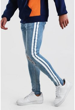Super Skinny Distressed Jean With Painted Stripe, Light blue