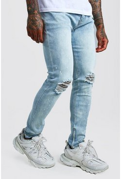 Skinny Jeans With Paint Splat & Zip Ankles, Light blue