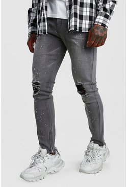Skinny Jeans With Paint Splat & Zip Ankles, Grey