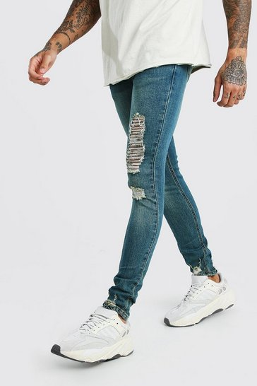 Blue Super Skinny Jeans With Distressing