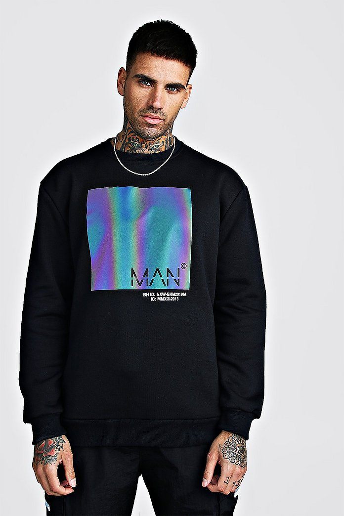 Sweat coupe ample Original MAN avec imprimé arc en ciel | boohooMAN