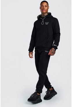Black Original MAN Hooded Tracksuit With Rainbow Detail