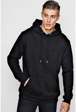 Black Longline Over The Head Hoodie