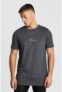 MAN Signature Marl Longline T-Shirt With Step Hem, Charcoal, HERREN