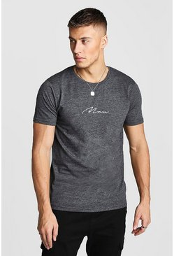 Mens Charcoal MAN Signature Embroidered T-Shirt In Marl