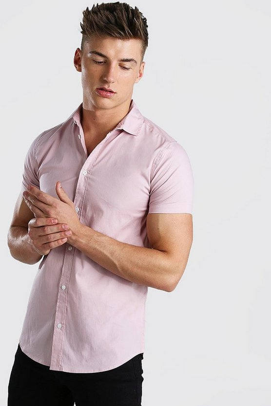 Pale pink Muscle Fit Short Sleeve Shirt
