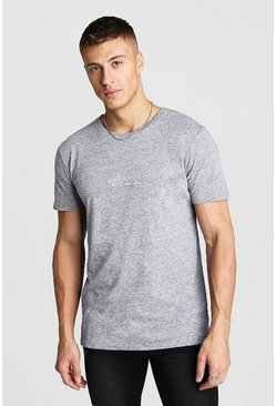 MAN Signature Embroidered T-Shirt In Marl, Light grey, HOMMES