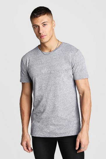 Mens Light grey MAN Signature Embroidered T-Shirt In Marl