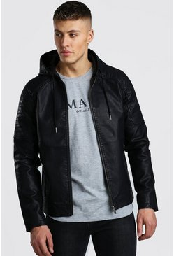 Faux Leather Hooded Biker Jacket, Black