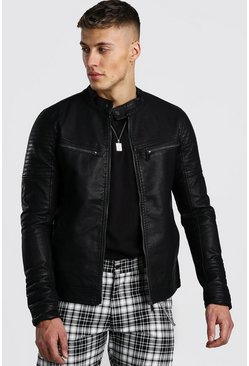 Mens Black Faux Leather Fitted Biker Jacket