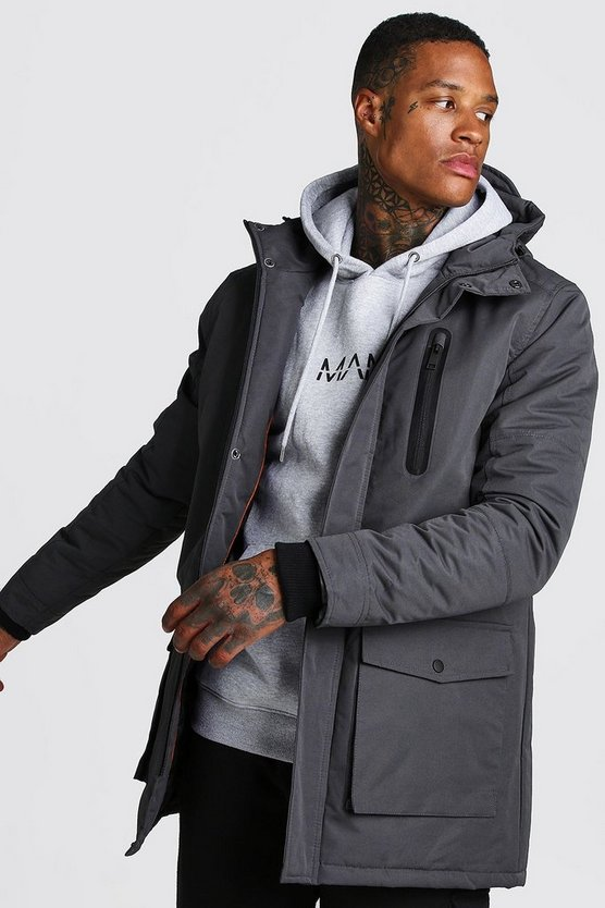 Charcoal Padded Hooded Parka