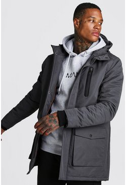 Mens Charcoal Padded Hooded Parka