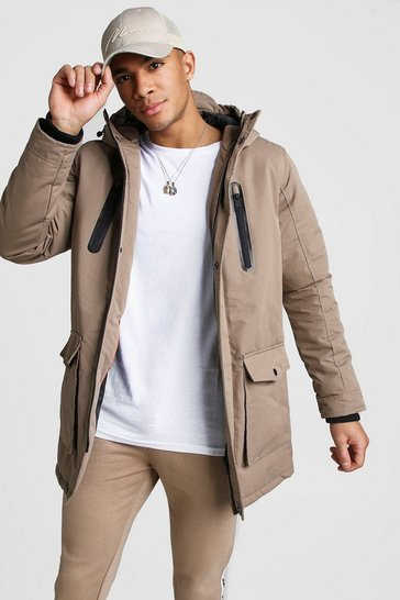 Mens Stone Padded Hooded Parka