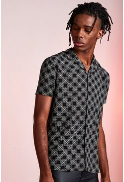 Revere Collar Short Sleeve Printed Viscose Shirt, Black, HERREN