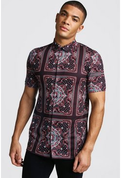 Herr Burgundy Short Sleeve Muscle Fit Bandana Print Shirt