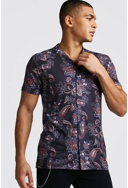 Black Revere Collar Muscle Fit Paisley Print Shirt