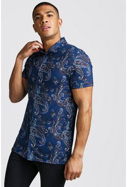 Short Sleeve Muscle Fit Paisley Print Shirt, Navy