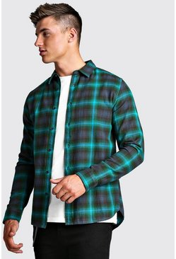 Long Sleeve Brushed Check Flannel Shirt, Green, HOMMES