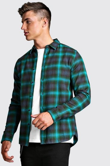 Mens Green Long Sleeve Brushed Check Flannel Shirt