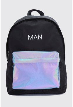 Reflective Pocket MAN Print Backpack, Black