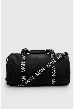 MAN Printed Strap Barrel Bag, Black