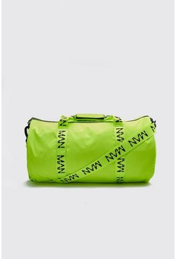 MAN Printed Strap Barrel Bag, Neon-yellow