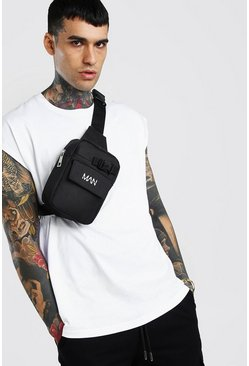 Black Reflective Print Chest Bag