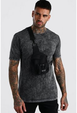 Black MAN Nylon Crossbody Bumbag