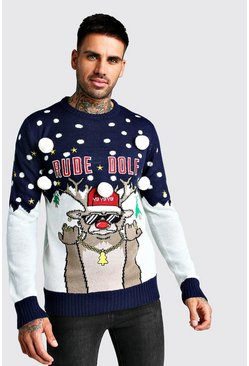 3D Rude Dolf Christmas Jumper, Navy, HERREN