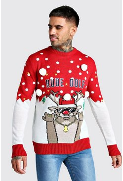 3D Rude Dolf Christmas Jumper, Red, Uomo